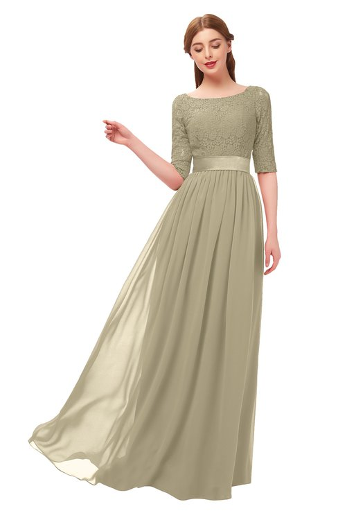 ColsBM Payton Candied Ginger Bridesmaid Dresses Sash A-line Modest Bateau Half Length Sleeve Zip up
