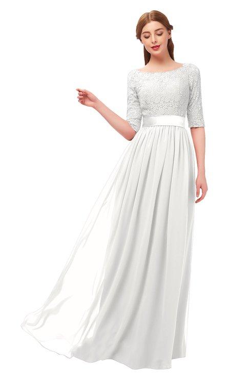 ColsBM Payton Cloud White Bridesmaid Dresses Sash A-line Modest Bateau Half Length Sleeve Zip up