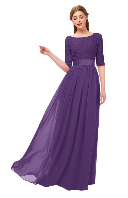 ColsBM Payton Dark Purple Bridesmaid Dresses Sash A-line Modest Bateau Half Length Sleeve Zip up