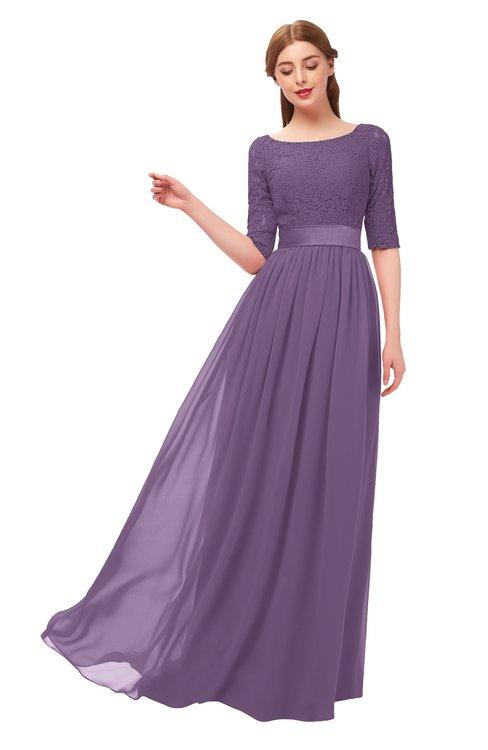 ColsBM Payton Eggplant Bridesmaid Dresses Sash A-line Modest Bateau Half Length Sleeve Zip up