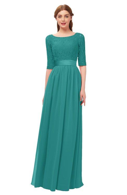 524086b48b ... ColsBM Payton Emerald Green Bridesmaid Dresses Sash A-line Modest  Bateau Half Length Sleeve Zip ...