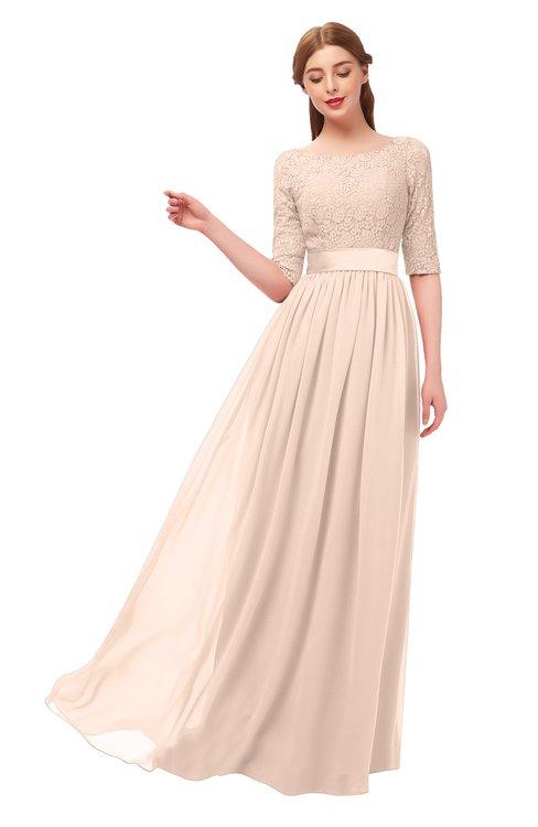 ColsBM Payton Fresh Salmon Bridesmaid Dresses Sash A-line Modest Bateau Half Length Sleeve Zip up