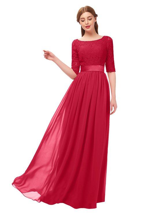 ColsBM Payton Lollipop Bridesmaid Dresses Sash A-line Modest Bateau Half Length Sleeve Zip up