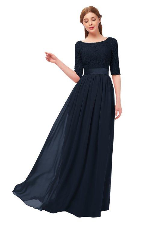 ColsBM Payton Navy Blue Bridesmaid Dresses Sash A-line Modest Bateau Half Length Sleeve Zip up
