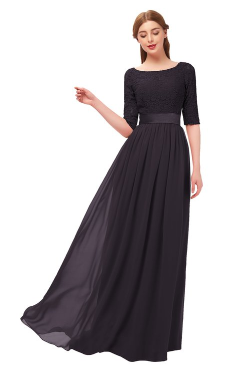 ColsBM Payton Perfect Plum Bridesmaid Dresses Sash A-line Modest Bateau Half Length Sleeve Zip up