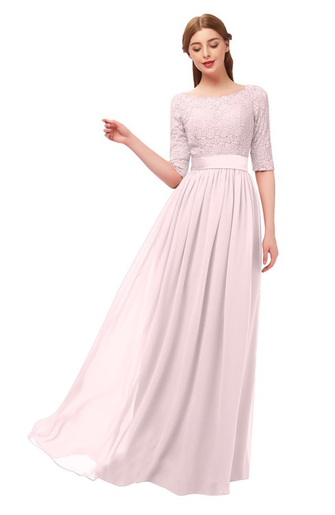 ColsBM Payton Petal Pink Bridesmaid Dresses Sash A-line Modest Bateau Half Length Sleeve Zip up