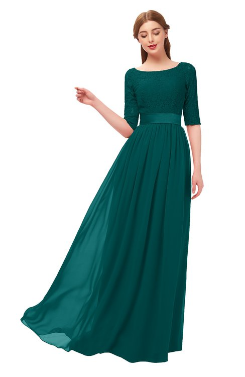 ColsBM Payton Shaded Spruce Bridesmaid Dresses Sash A-line Modest Bateau Half Length Sleeve Zip up