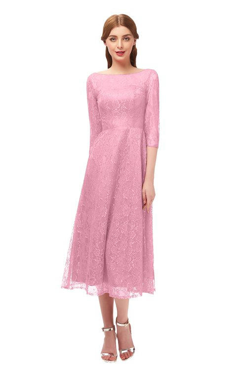 ColsBM Lauryn Begonia Pink Bridesmaid Dresses A-line Lace Cute Tea Length Sabrina Three-fourths Length Sleeve