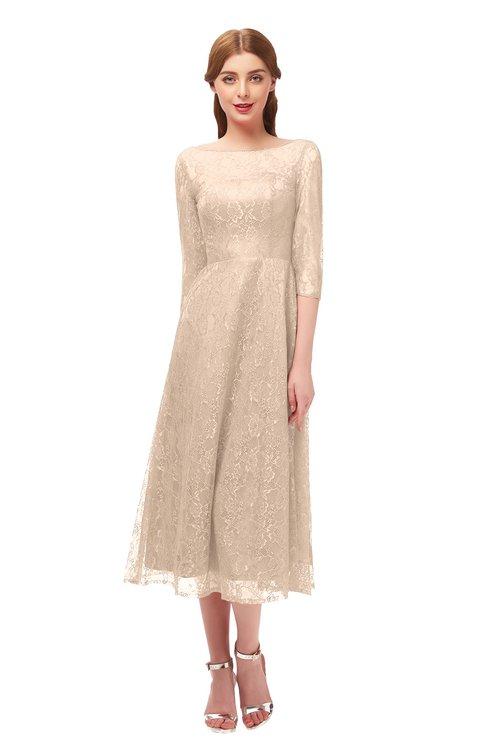 ColsBM Lauryn Beige Bridesmaid Dresses A-line Lace Cute Tea Length Sabrina Three-fourths Length Sleeve