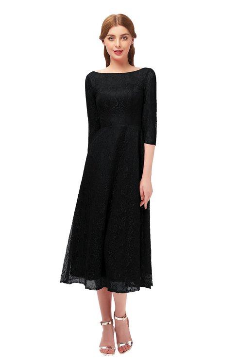 ColsBM Lauryn Black Bridesmaid Dresses A-line Lace Cute Tea Length Sabrina Three-fourths Length Sleeve