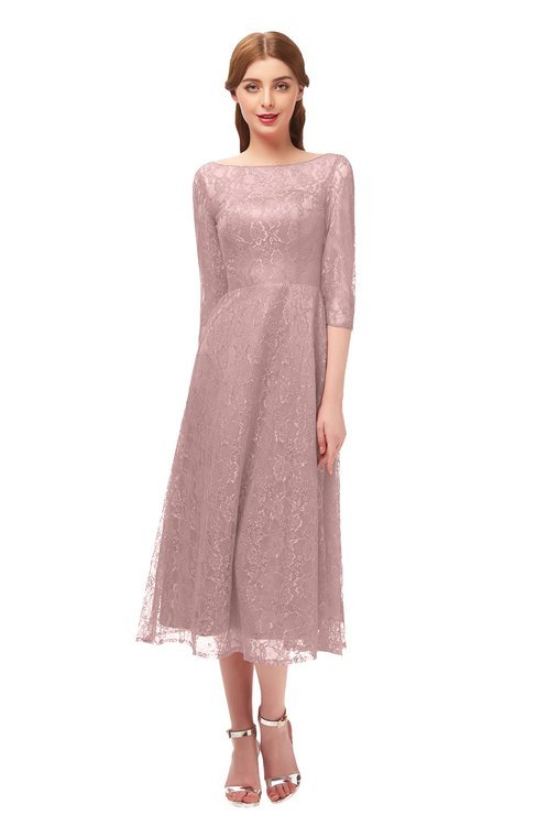 ColsBM Lauryn Blush Pink Bridesmaid Dresses A-line Lace Cute Tea Length Sabrina Three-fourths Length Sleeve