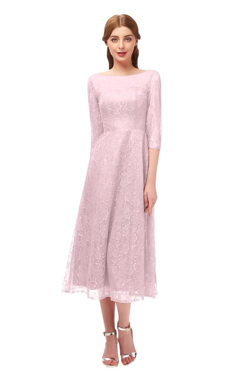 ColsBM Lauryn Blush Bridesmaid Dresses A-line Lace Cute Tea Length Sabrina Three-fourths Length Sleeve
