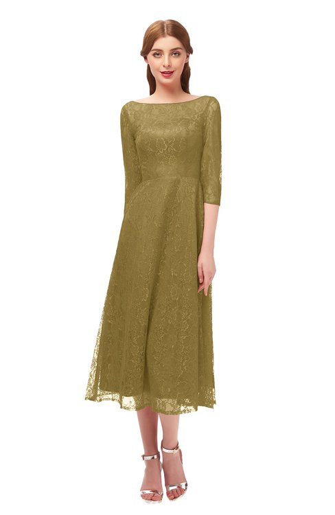 ColsBM Lauryn Bronze Mist Bridesmaid Dresses A-line Lace Cute Tea Length Sabrina Three-fourths Length Sleeve