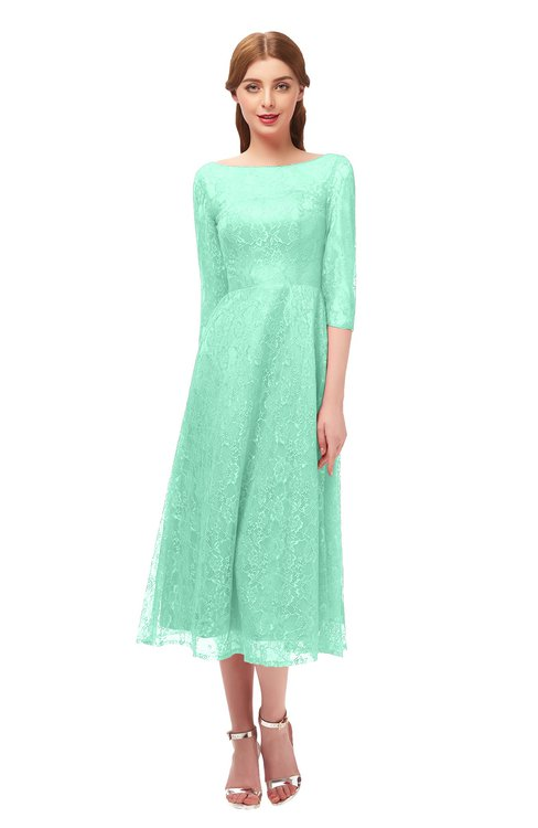 ColsBM Lauryn Brook Green Bridesmaid Dresses A-line Lace Cute Tea Length Sabrina Three-fourths Length Sleeve