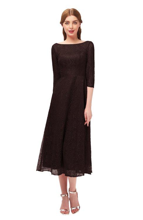 ColsBM Lauryn Chocolate Brown Bridesmaid Dresses A-line Lace Cute Tea Length Sabrina Three-fourths Length Sleeve