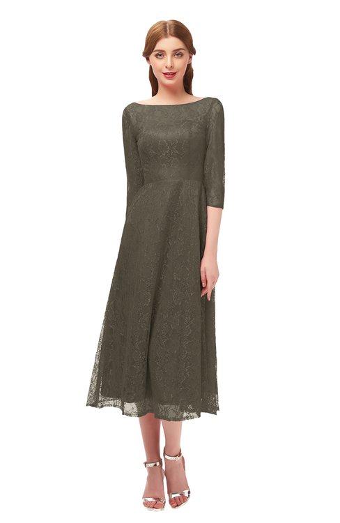 ColsBM Lauryn Chocolate Chip Bridesmaid Dresses A-line Lace Cute Tea Length Sabrina Three-fourths Length Sleeve