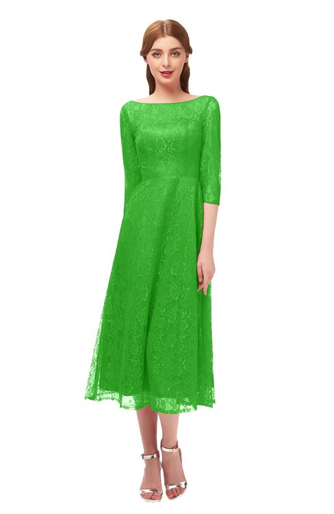 ColsBM Lauryn Classic Green Bridesmaid Dresses A-line Lace Cute Tea Length Sabrina Three-fourths Length Sleeve