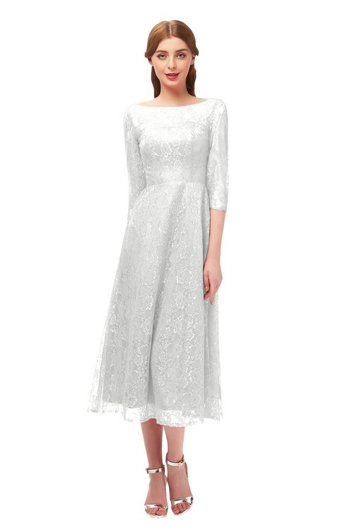 ColsBM Lauryn Cloud White Bridesmaid Dresses A-line Lace Cute Tea Length Sabrina Three-fourths Length Sleeve