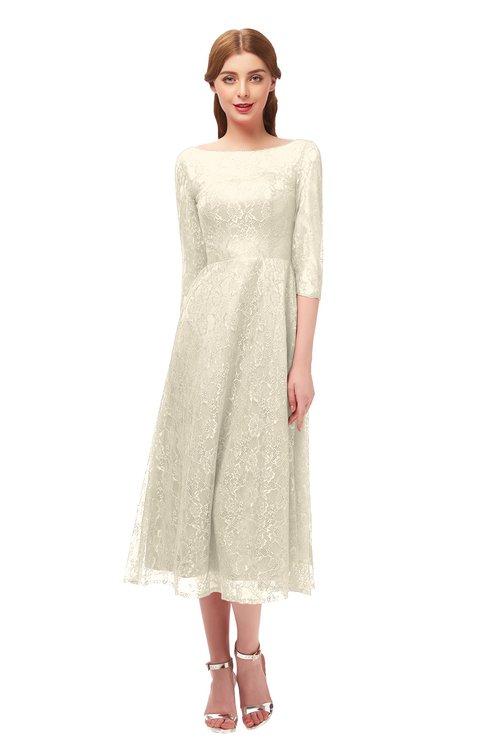 ColsBM Lauryn Cornhusk Bridesmaid Dresses A-line Lace Cute Tea Length Sabrina Three-fourths Length Sleeve