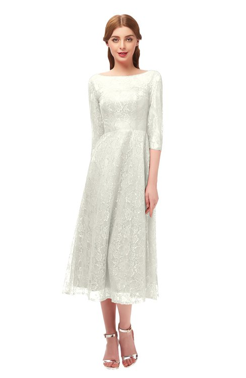 ColsBM Lauryn Cream Bridesmaid Dresses A-line Lace Cute Tea Length Sabrina Three-fourths Length Sleeve