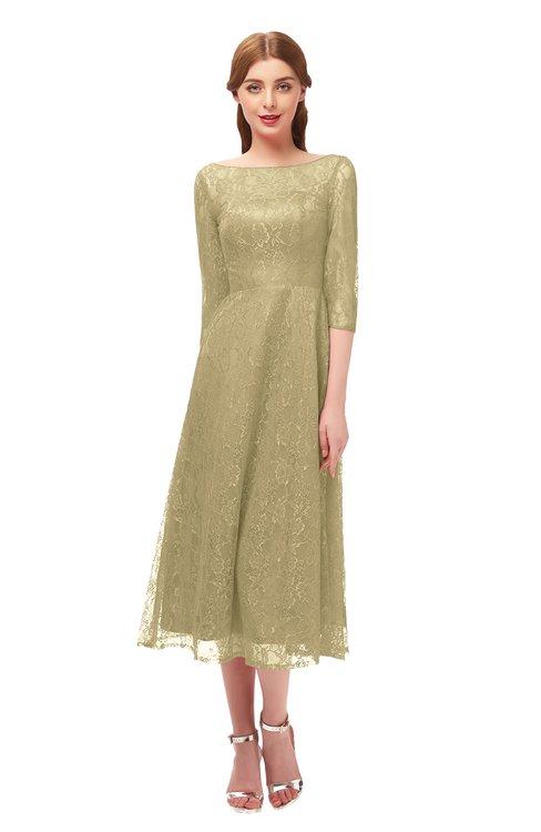 ColsBM Lauryn Curds & Whey Bridesmaid Dresses A-line Lace Cute Tea Length Sabrina Three-fourths Length Sleeve