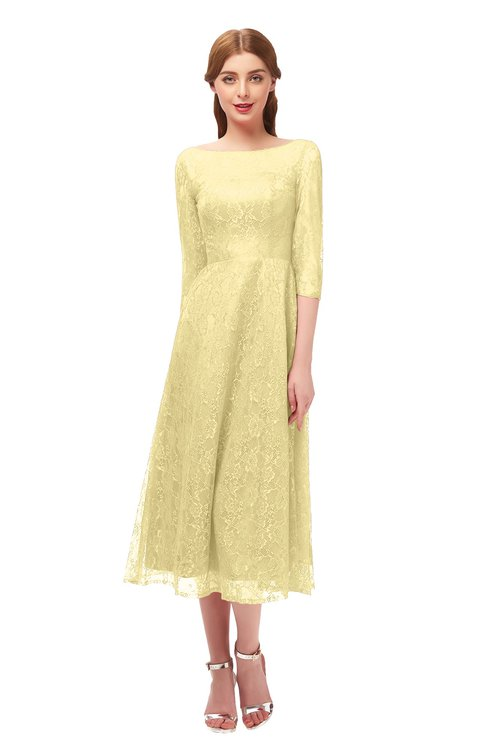 ColsBM Lauryn Daffodil Bridesmaid Dresses A-line Lace Cute Tea Length Sabrina Three-fourths Length Sleeve
