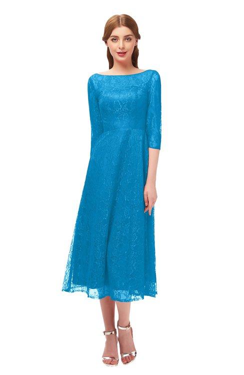 ColsBM Lauryn Dresden Blue Bridesmaid Dresses A-line Lace Cute Tea Length Sabrina Three-fourths Length Sleeve