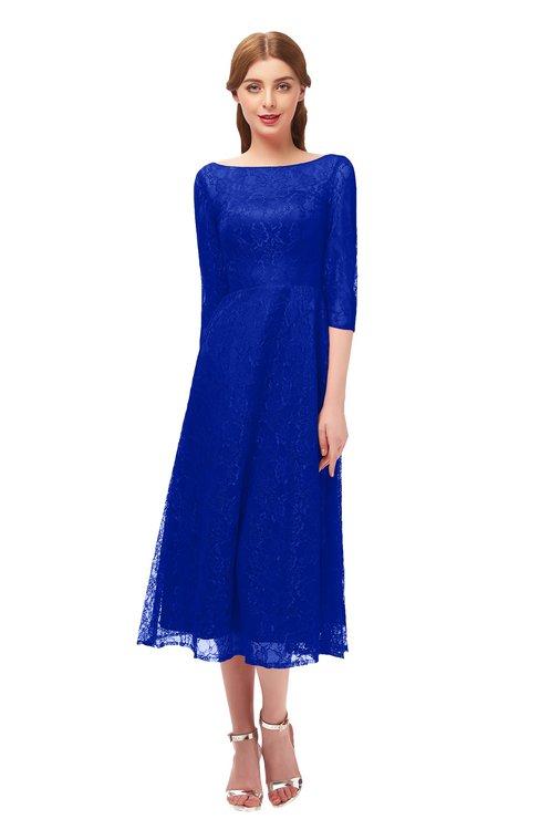 ColsBM Lauryn Electric Blue Bridesmaid Dresses A-line Lace Cute Tea Length Sabrina Three-fourths Length Sleeve