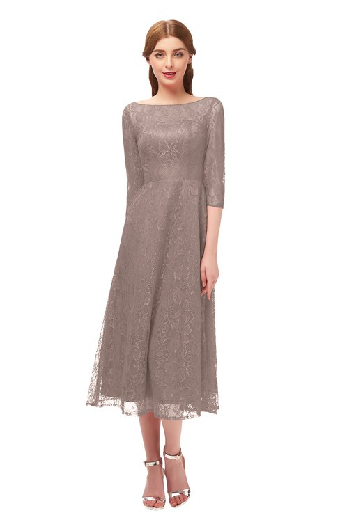 ColsBM Lauryn Fawn Bridesmaid Dresses A-line Lace Cute Tea Length Sabrina Three-fourths Length Sleeve