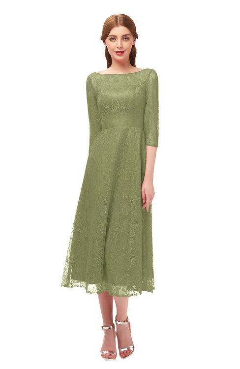 ColsBM Lauryn Fern Green Bridesmaid Dresses A-line Lace Cute Tea Length Sabrina Three-fourths Length Sleeve