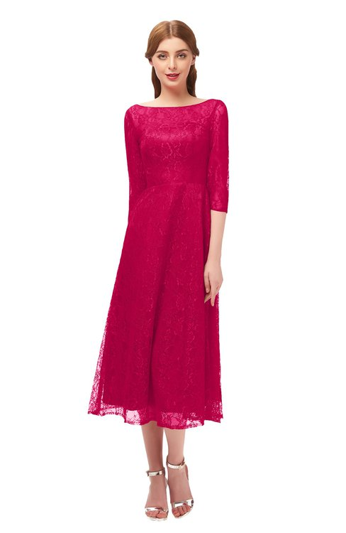 ColsBM Lauryn Fuschia Bridesmaid Dresses A-line Lace Cute Tea Length Sabrina Three-fourths Length Sleeve