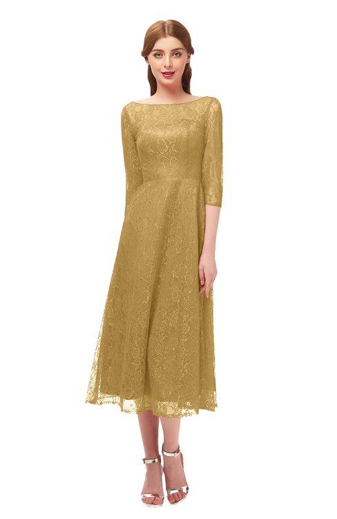 ColsBM Lauryn Gold Bridesmaid Dresses A-line Lace Cute Tea Length Sabrina Three-fourths Length Sleeve