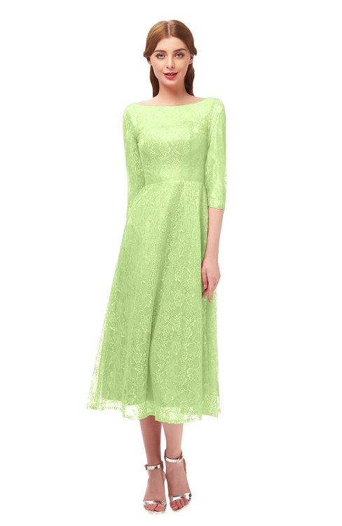 ColsBM Lauryn Green Oasis Bridesmaid Dresses A-line Lace Cute Tea Length Sabrina Three-fourths Length Sleeve