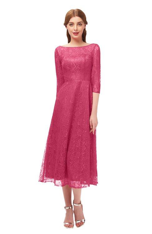 ColsBM Lauryn Honeysuckle Pink Bridesmaid Dresses A-line Lace Cute Tea Length Sabrina Three-fourths Length Sleeve
