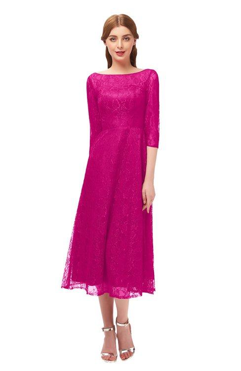 ColsBM Lauryn Hot Pink Bridesmaid Dresses A-line Lace Cute Tea Length Sabrina Three-fourths Length Sleeve