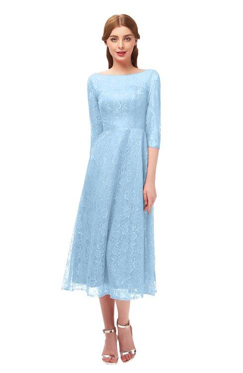 ColsBM Lauryn Ice Blue Bridesmaid Dresses A-line Lace Cute Tea Length Sabrina Three-fourths Length Sleeve