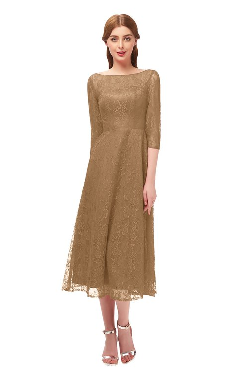 ColsBM Lauryn Indian Tan Bridesmaid Dresses A-line Lace Cute Tea Length Sabrina Three-fourths Length Sleeve