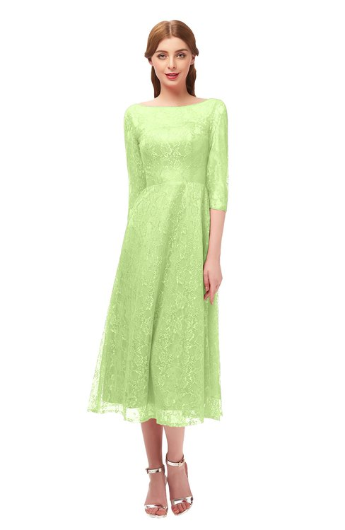 ColsBM Lauryn Lime Green Bridesmaid Dresses A-line Lace Cute Tea Length Sabrina Three-fourths Length Sleeve