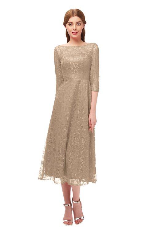 ColsBM Lauryn Macaroon Bridesmaid Dresses A-line Lace Cute Tea Length Sabrina Three-fourths Length Sleeve