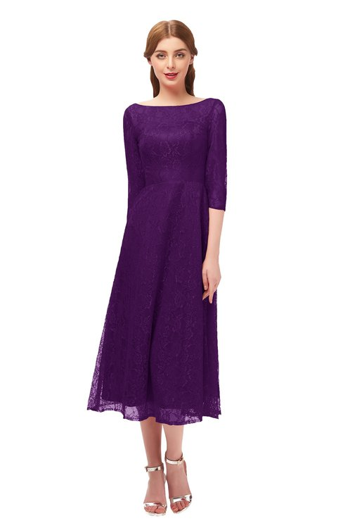 ColsBM Lauryn Magic Purple Bridesmaid Dresses A-line Lace Cute Tea Length Sabrina Three-fourths Length Sleeve