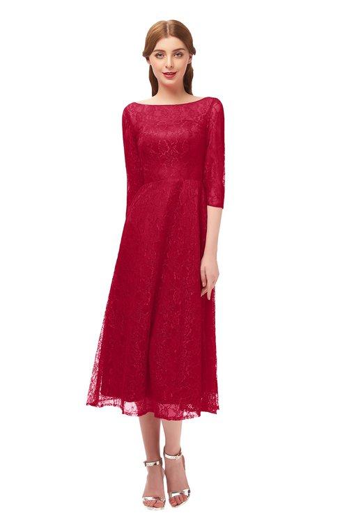ColsBM Lauryn Maroon Bridesmaid Dresses A-line Lace Cute Tea Length Sabrina Three-fourths Length Sleeve