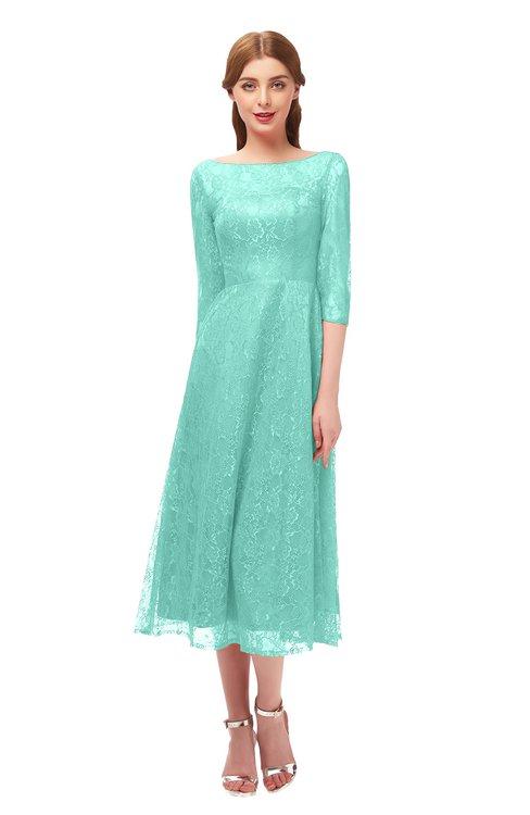 ColsBM Lauryn Mint Green Bridesmaid Dresses A-line Lace Cute Tea Length Sabrina Three-fourths Length Sleeve