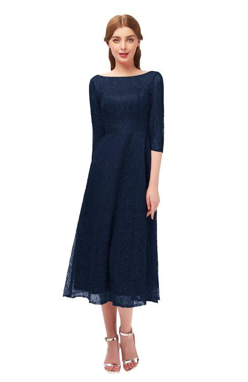 ColsBM Lauryn Navy Blue Bridesmaid Dresses A-line Lace Cute Tea Length Sabrina Three-fourths Length Sleeve