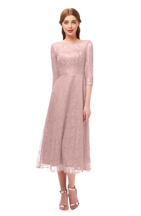 ColsBM Lauryn Nectar Pink Bridesmaid Dresses A-line Lace Cute Tea Length Sabrina Three-fourths Length Sleeve