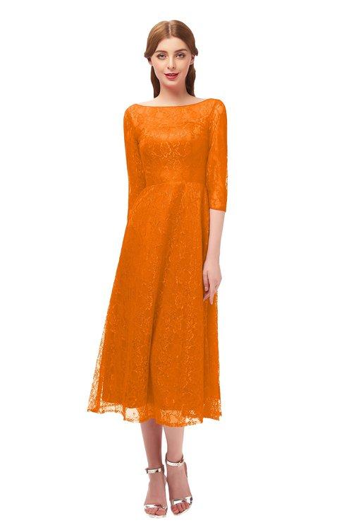 ColsBM Lauryn Orange Bridesmaid Dresses A-line Lace Cute Tea Length Sabrina Three-fourths Length Sleeve