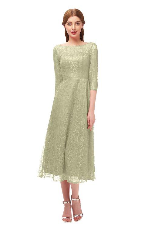 ColsBM Lauryn Pale Olive Bridesmaid Dresses A-line Lace Cute Tea Length Sabrina Three-fourths Length Sleeve