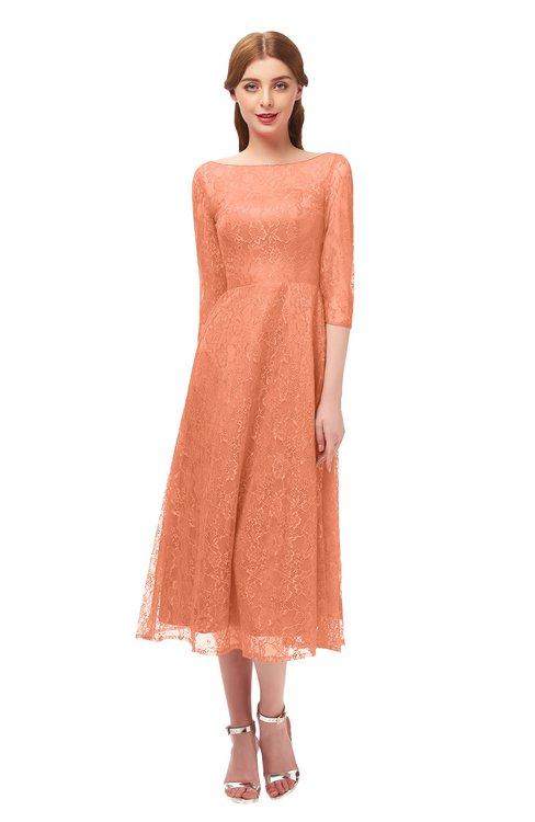 ColsBM Lauryn Peach Bridesmaid Dresses A-line Lace Cute Tea Length Sabrina Three-fourths Length Sleeve