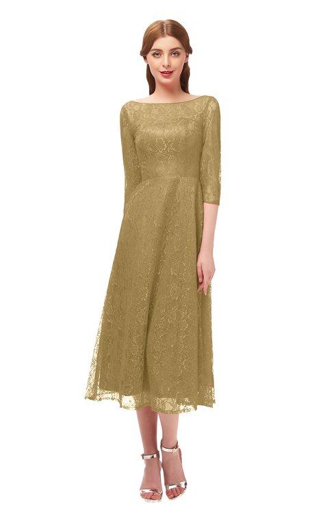 ColsBM Lauryn Prairie Sand Bridesmaid Dresses A-line Lace Cute Tea Length Sabrina Three-fourths Length Sleeve