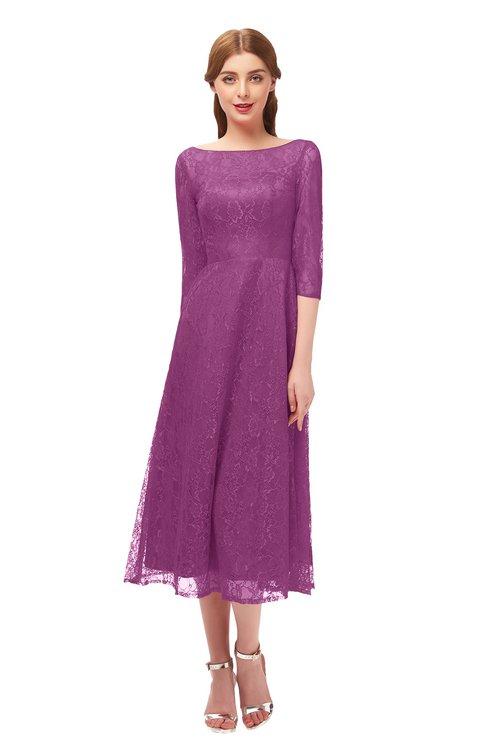 ColsBM Lauryn Raspberry Bridesmaid Dresses A-line Lace Cute Tea Length Sabrina Three-fourths Length Sleeve