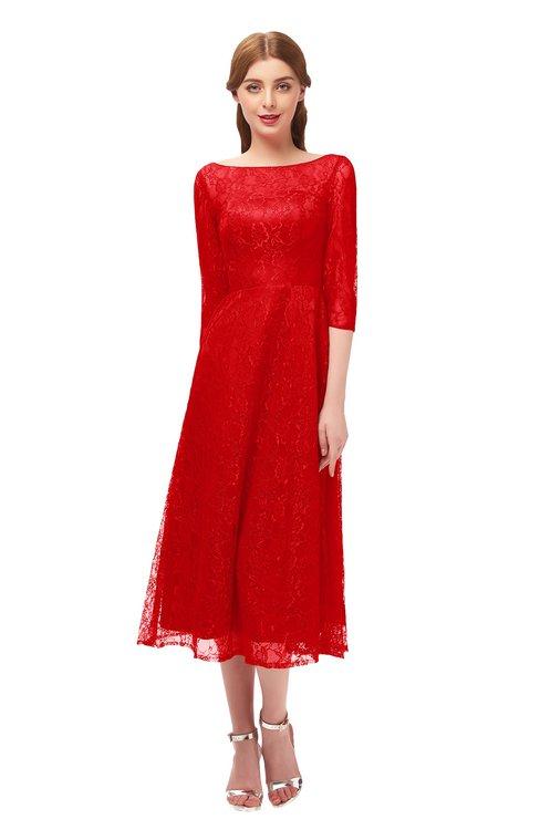 ColsBM Lauryn Red Bridesmaid Dresses A-line Lace Cute Tea Length Sabrina Three-fourths Length Sleeve